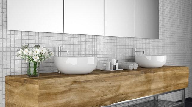 Modernes Badezimmer mit Handwaschbecken und Handtüchern