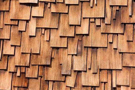Western red cedar shingles unregular pattern
