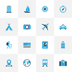 Exploration Colorful Icons Set. Collection Of Train, Bank Card, Sun And Other Elements. Also Includes Symbols Such As Train, Ship, Document.