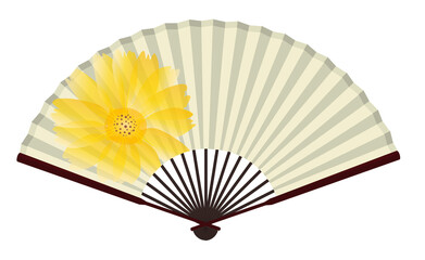 Ancient Traditional Japanese fan with Chrysanthemum Painting