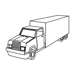 cargo delivery truck with container shipping vector illustration