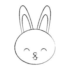 cute sketch draw rabbit face cartoon graphic design