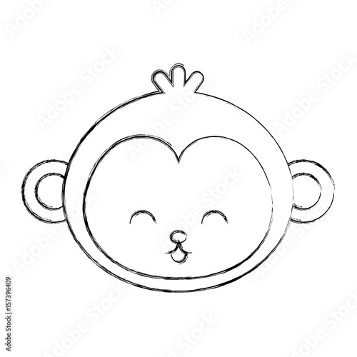 Cute Sketch Draw Monkey Face Cartoon Graphic Deisgn Stock Image And
