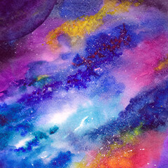 Space background. Watercolor art background with space, stars, milky-way. University art background. Multicolor abstract background. Wallart painting for home decor. Interior wallart.