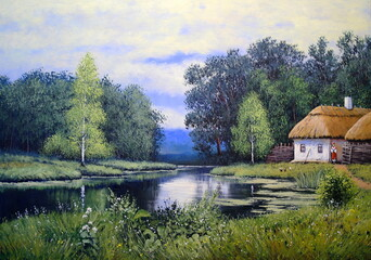Ukrainian landscape, river, oil paintings, art, paint