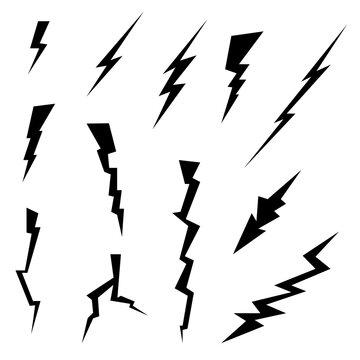 lighting bolts icon set black