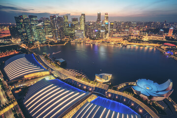 Singapore Skyline at Marina Bay from Aerial View