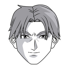 anime style male character head vector illustration