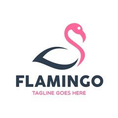 Unique Flamingo Logo Template