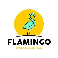 Unique Flamingo Logo Template