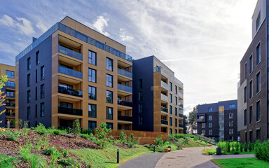 Modern architecture of residential building quarter