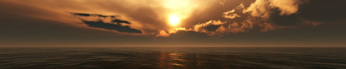 Ocean sunset, sea sunrise, panorama of the sea landscape, light above the water, 3d rendering