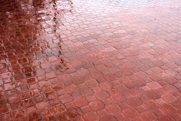 Rainy Red Brick Floor
