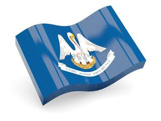 Flag of louisiana, US state wave icon