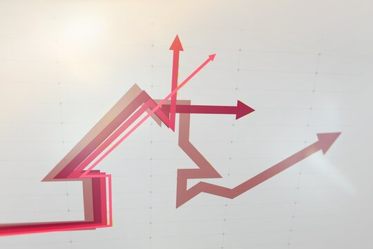 Real estate sales boom - Growing sales in real estate - Up and down arrows in graph - Digital infographics in red