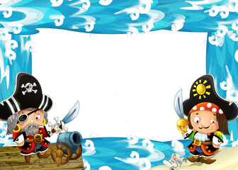 Water / wave frame with fighting pirates - illustration for children