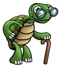 Elderly Tortoise Cartoon Character