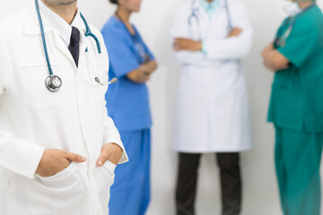 Doctors group, surgeon and nurse on white background