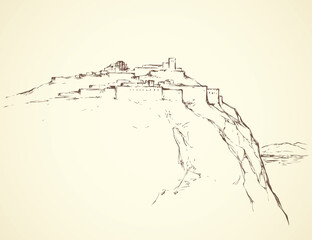 Ancient city on rock. Vector drawing