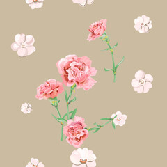 Vector square floral seamless pattern with carnation, pink, white flowers, green stems, leaves on pale background, digital draw illustration for fabric, wallpaper, wrapping, vintage