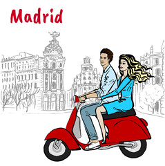 Man and woman driving scooter