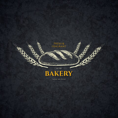 Vintage logotype for bakery and bread shop. Food and drinks logotype symbol design. Sketch style