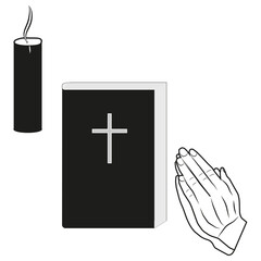 A vector image of hands put together. Prayer. Bible. Candle