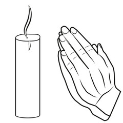 A vector image of hands put together. Prayer. Candle.