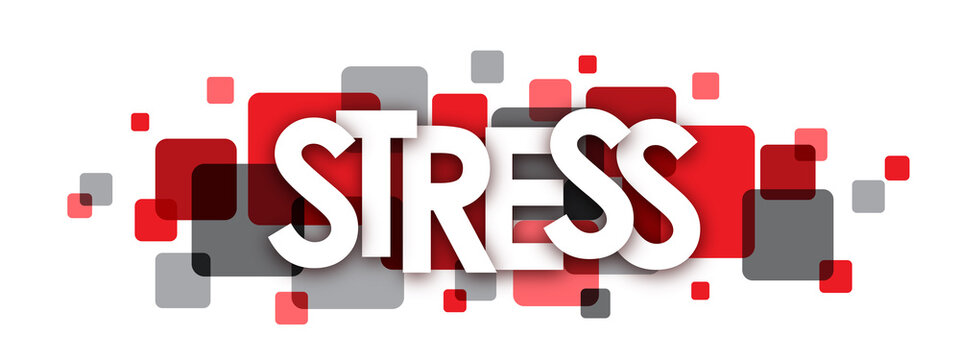 STRESS grey and red vector letters icon