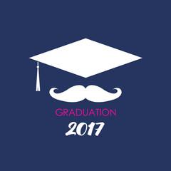 Mustache college graduate hat. Vector Illustration Logo.