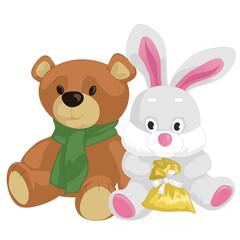 Cute toy teddy bear and rabbit