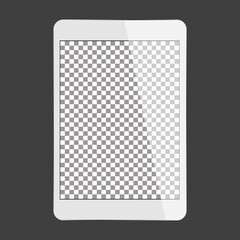 white tablet transparent screen