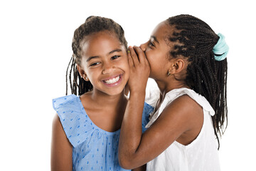 Two Adorable african twin girl on studio white background