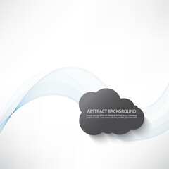 Abstract background with transparent blue waves and grey clouds.