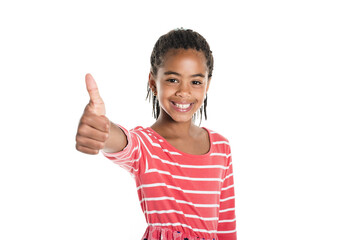 Adorable african little girl on studio white background
