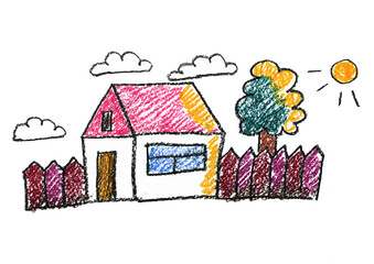 Kids drawing Family house Village Cottage Crayon children drawing Home Naive art isolated on white background
