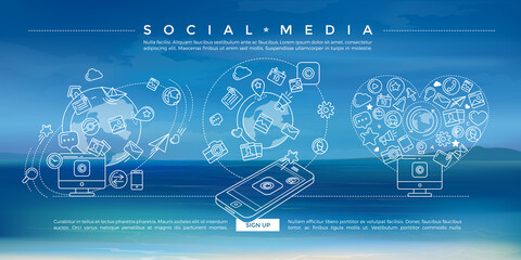 Social Media Blue Linear Illustration