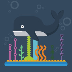whale character cartoon illustration vector with coral decoration