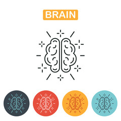 Brain icon. line art icon for apps and websites.