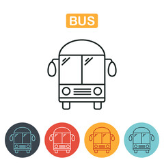 Bus icon. Outline illustration of bus vector icon for web.