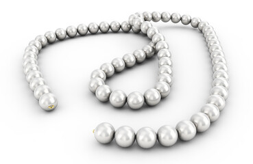 pearl necklace isolated, 3d rendering