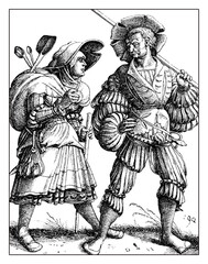 Lansquenet  mercenary going to war with his wife, portrait by Daniel Hopfer, XVI century.The Lansquenets were formidable and colorful  soldiers on foot in German Renaissance times.