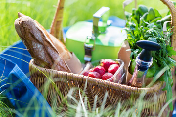 Summer basket for picnic  with wine, bread, fruits and snacks