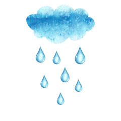 Watercolor cloud and rain drops, isolated on white background