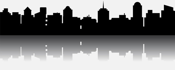 Black vector city silhouette with reflection