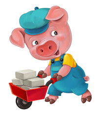 Cartoon isolated young pig in work outfit - interested - working - isolated - illustration for the children