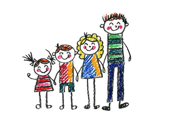 Kids drawing Happy family Mother, father, sister, brother Boy and girl with parents Young son and daughter with mother and father Children illustration