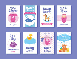 Set of baby shower greeting and invitation card templates