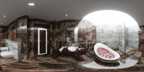 3d illustration spherical 360 degrees, seamless panorama of bathroom interior design in modern style.