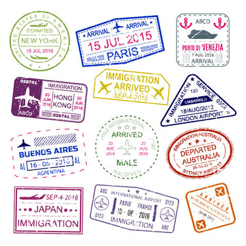Visa stamps bright design collection